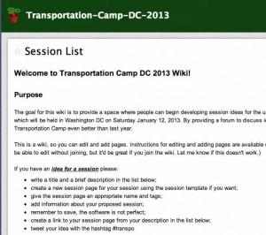Transportation Camp DC 2013 wiki