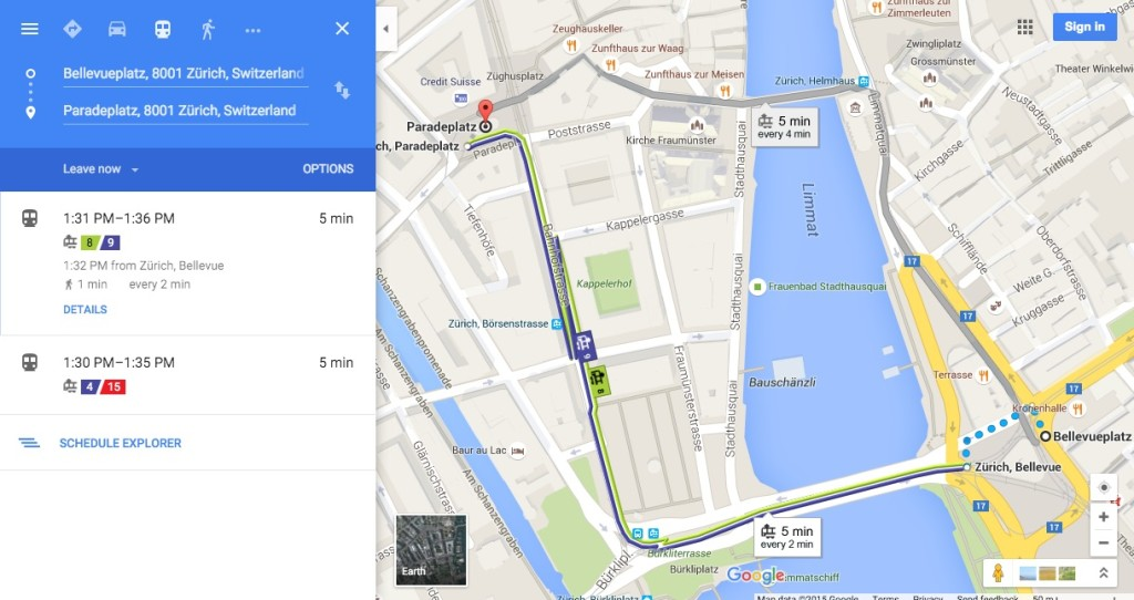 Google Transit and Vienna